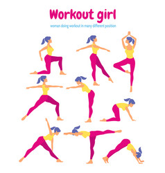 Body workout set woman doing fitness and yoga vector