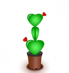 cactus with flowers hearts vector image