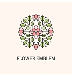 Flower linear emblem vector image vector image