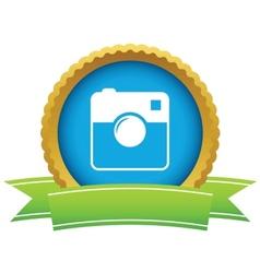 Gold camera logo vector image