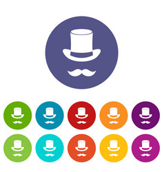 magic black hat and mustache set icons vector image