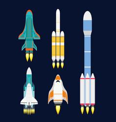 technology ship rocket cartoon design for vector image vector image