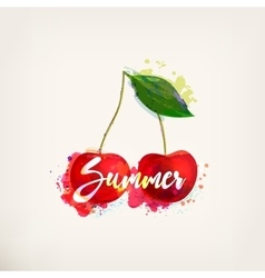 Watercolor card with cherry vector