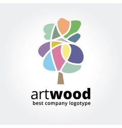 Abstract colored tree logotype concept isolated on vector image vector image