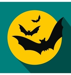 Bats fly to the moon flat icon vector image