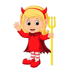 cute devil girl cartoon vector image
