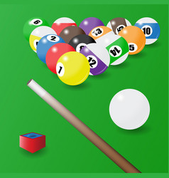 Eight-ball pool balls position cue and a piece vector