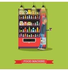 Food machine and man with vector