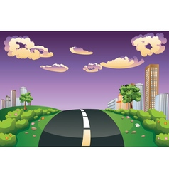 Green Field and City2 vector image vector image