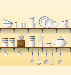 kitchen shelving with tableware seamless part 1 vector image
