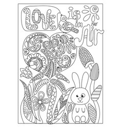 romantic doodle coloring page with lettering st vector image