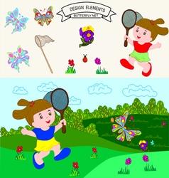 0815 9 butterfly net v vector image