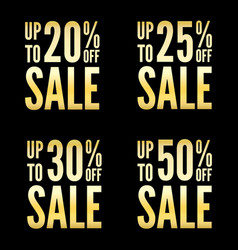 20 to 50 percent off sale signs collection vector image