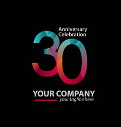 30 year anniversary celebration company template vector