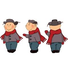 A boys in a winter coat and a cap cartoon vector image
