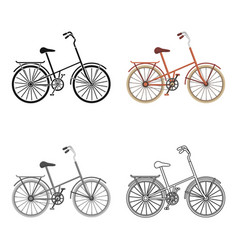 a red bicycle with wheels and basket the eco vector image