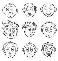 Amusing male grimaces set vector