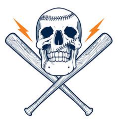 Baseball skull vector