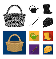 basket wicker watering can for irrigation rubber vector image