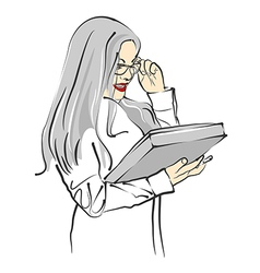 Beautiful businesswoman in glasses with folder vector