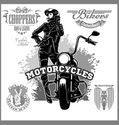 Beautiful girl on a motorcycle draw in retro style vector