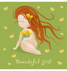 Beautiful girl with flowers vector image