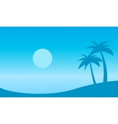 Beautiful landscape beach with palm silhouettes vector image