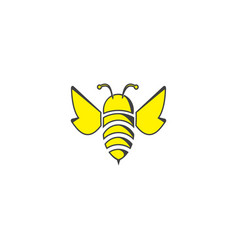 Bee flat icon open wings and fly for logo design vector