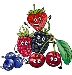 berry fruits group cartoon vector image