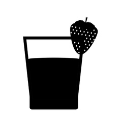 Black silhouette glass of Strawberry juice icon vector