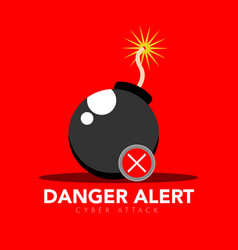 Bomb with a danger alert cyber security vector