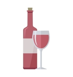 Bottle of Rose Wine and Glass Isolated on White vector