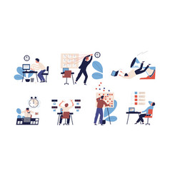 Bundle of people unable to organize their tasks vector