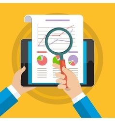 Businessman hands with financial chart vector