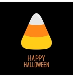 Candy corn Happy Halloween card Flat design vector image