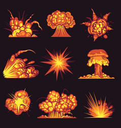 cartoon explosions fire bang with smoke effect vector image