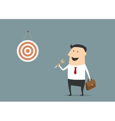 Cartoon flat businessman with dart and target vector image