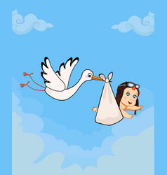 cartoon with stork carrying cute baby boy vector image