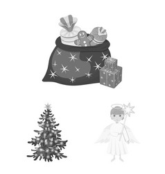 Christmas attributes and accessories monochrome vector