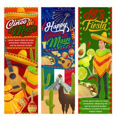 cinco de mayo mexican mariachi guitar and sombrero vector image