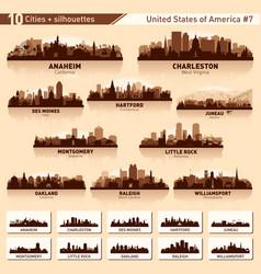 City skyline set 10 city silhouettes usa 7 vector