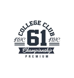 Classic College Championship Label vector image