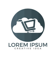 Cloud shoping logo design vector