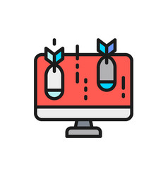 computer with bomb virus flat color line icon vector image