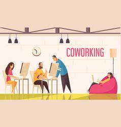 Coworking people horizontal vector