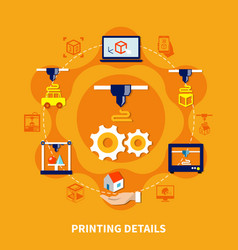 Details for 3d printer on orange background vector