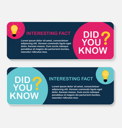 Did you know interesting fact label sticker set vector