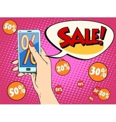 Discount online store smartphone app woman vector
