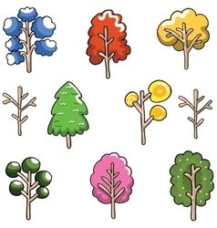 Doodle of Unique tree set collection vector