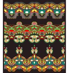 Ethnic floral paisley stripe pattern border set vector